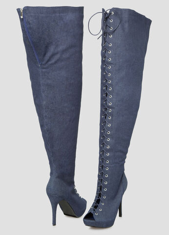 Denim Thigh High Boot - Wide Width Wide Calf