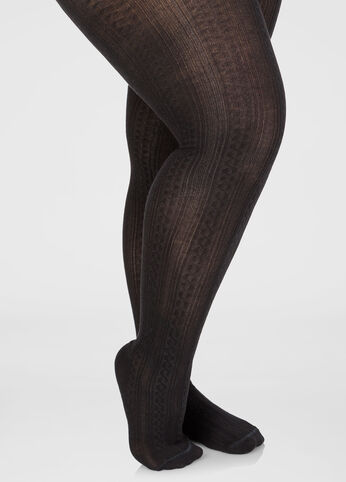 Textured Cable Knit Sweater Tights