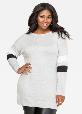 Athletic Stripe Tunic Sweatshirt