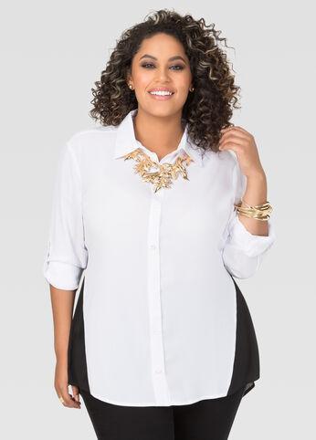 Plus Size Split Back Colorblock Blouse in Black & White