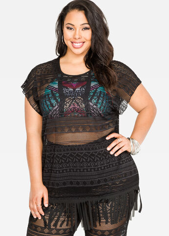 Crochet Fringe Cover-Up Top