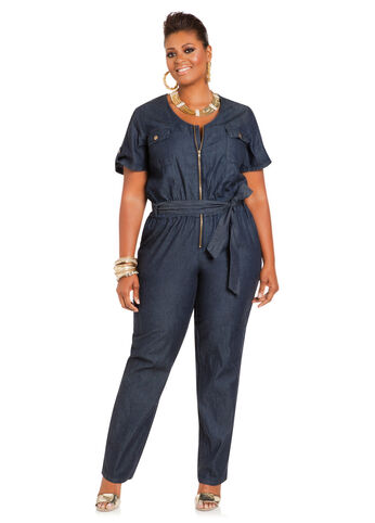Denim Short-Sleeve Jumpsuit