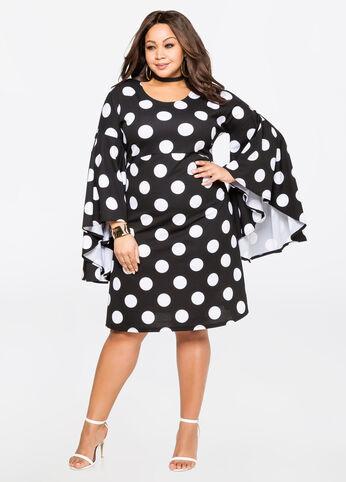 Exaggerated Sleeve Polka Dot Dress