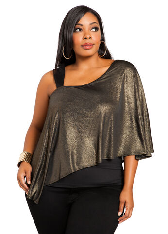 Gold Foil One Shoulder Top