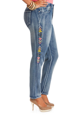 Aztec Embroidered Skinny Jeans