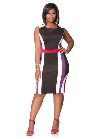 Tri-Tone Scuba Sheath Dress