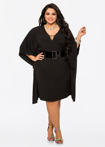 Wide Patent Belt Kimono Dress