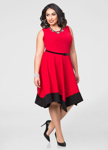 Colorblock Hanky Hem Dress