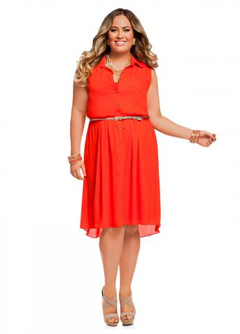 Web Exclusive: Braided Belt Hi Lo Dress