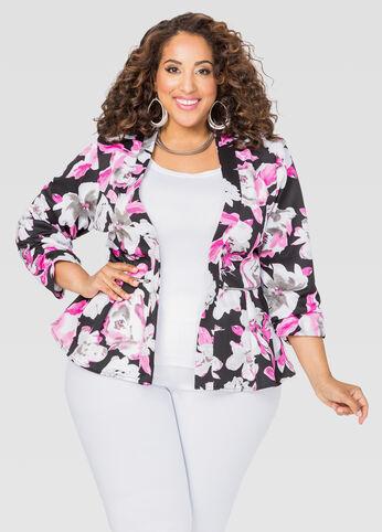 Floral Zip Peplum Jacket