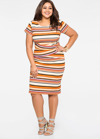 Striped Criss Cross Waist Dress