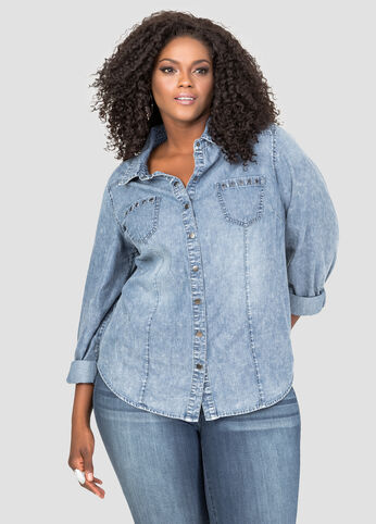 Grommet Pocket Denim Shirt