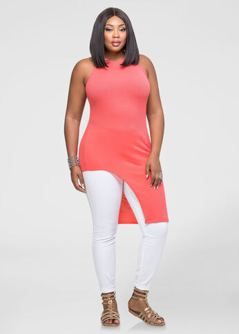 Plus Size Asymmetrical Mock Neck Tunic Coral