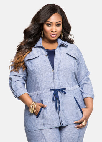 Chambray Drawstring Linen Jacket