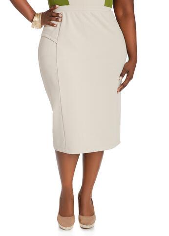 Side Peplum Midi Skirt