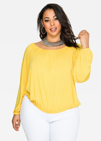 Solid Bubble Hem Top