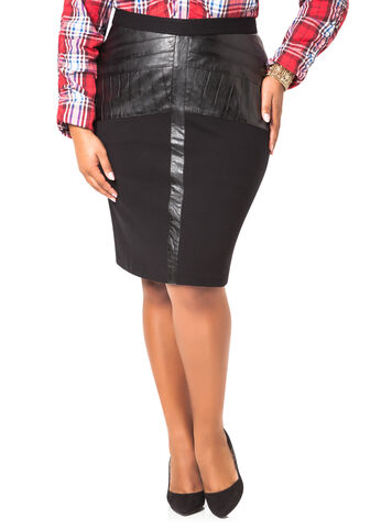 Pleather and Ponte Skirt