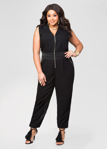 Stitch Zip Front Jogger Jumpsuit