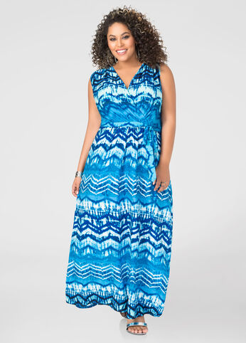 Surplice Tie Dye Maxi Dress