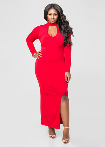 Slinky Plunge Neck Maxi Dress