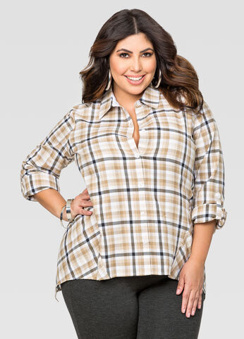 Plaid Roll Sleeve Hi-Lo Tunic