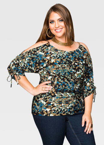 Tile Print Cold Shoulder Top