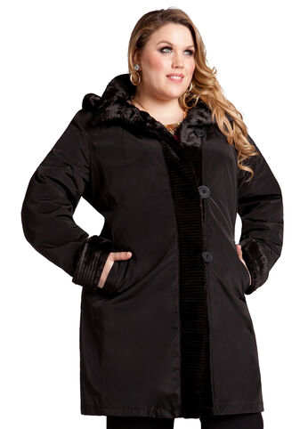 Web Exclusive: Faux Fur Hooded Coat by Gallery