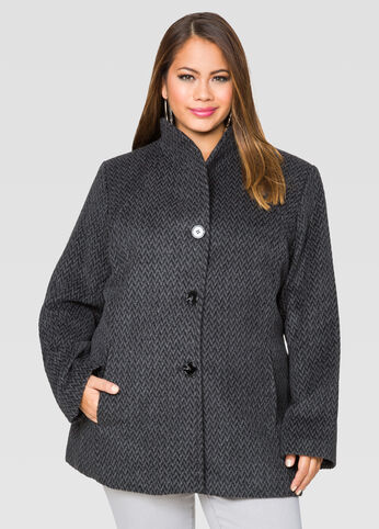 Herringbone Shawl Collar Coat