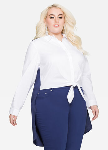 Split Back Tie Front Colorblock Shirt