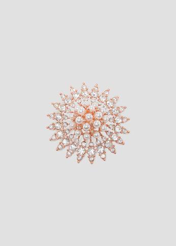 Flower Rhinestone Pearl Brooch