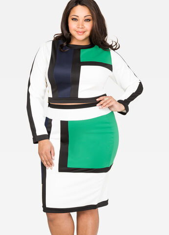 Colorblock Scuba Skirt