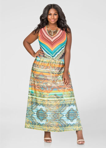 Printed Drawstring Maxi Dress