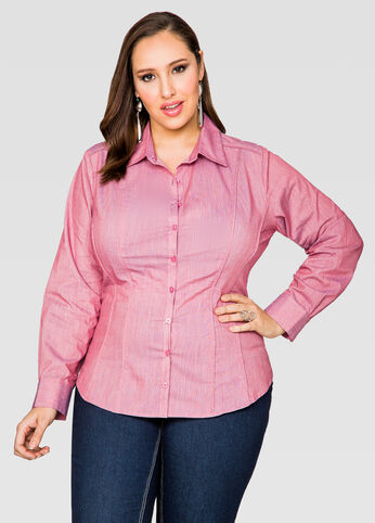Piped Button Front Shirt