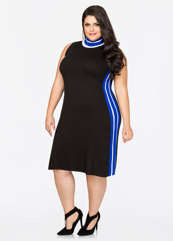 Athletic Stripe Midi Sweater Dress