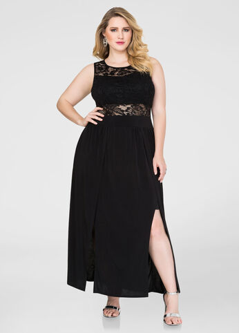 Plus Size Double Split Special Occasion Dress in Black - Front