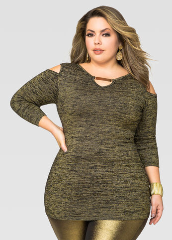 Gold Bar Cold Shoulder Tunic Sweater