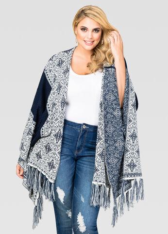 Geo Border Knit Kimono