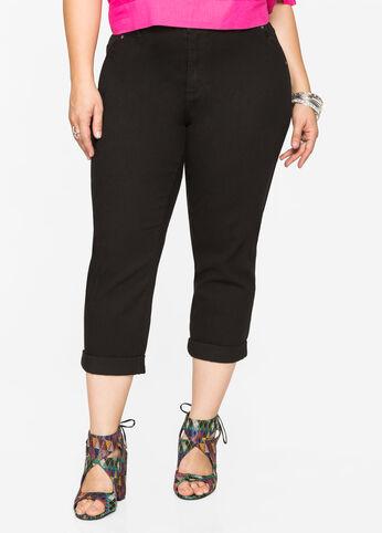 Cuffed Capri Trouser Style Jeans Black - Shorts