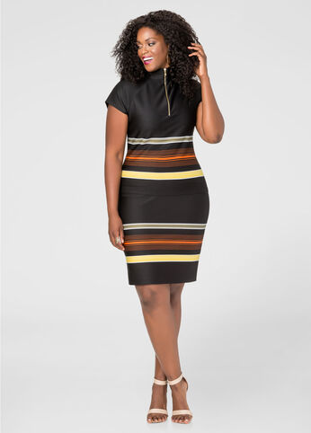 Stripe Border Slim Skirt
