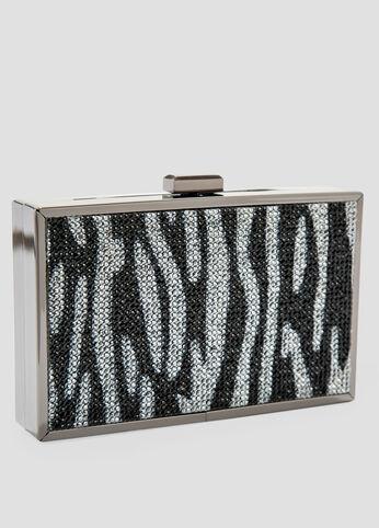 Crystal Zebra Metallic Box Clutch