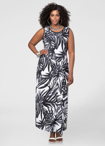 Faux Wrap Tropical Maxi Dress
