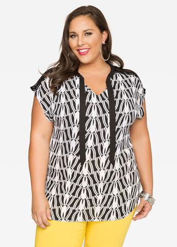 Printed Lace Shoulder Blouse