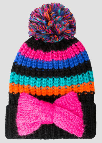 Bold Bow Striped Pom Beanie