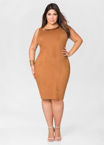Micro Suede Gold Bar Sheath Dress