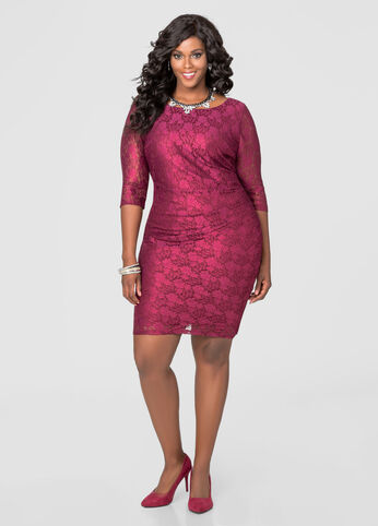 Ruched Side Lace Dress