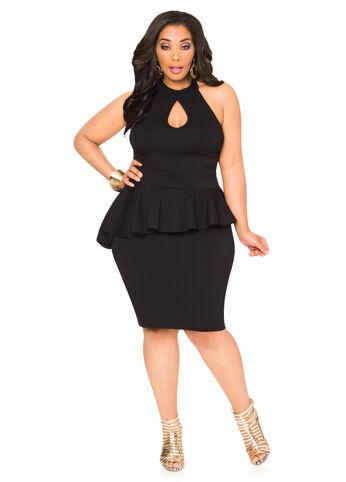 Asymmetrical Peplum Halter Dress