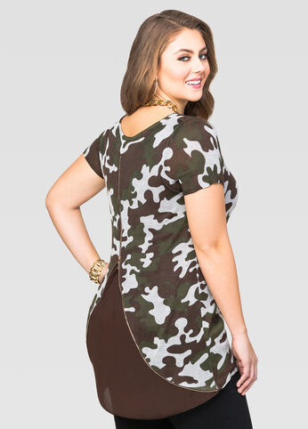 Short Sleeve Camo Zip Back Sweater