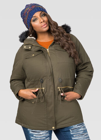Faux Fur Lined Parka Winter Coat