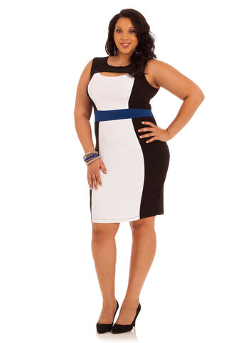Sleeveless Peekaboo Neck Colorblock Dress