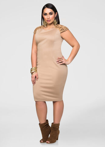 Suede Shoulder Ponte Dress
